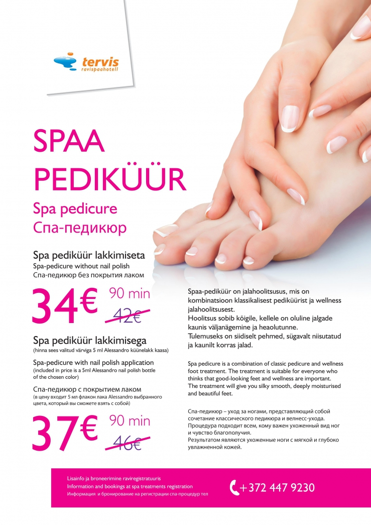 Spa pedicure is a combination of classic pedicure and wellness foot treatment. The treatment is suitable for everyone who thinks that good-looking feet and wellness are important. The treatment will give you silky smooth, deeply moisturised and beautiful feet.